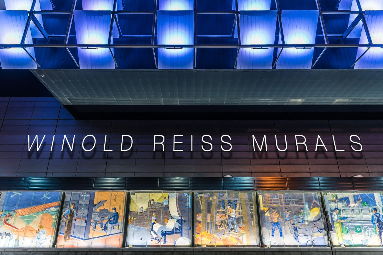 Renowned artist Winold Reiss created glass-tile mosaics for Cincinnati's Union Terminal in the early 1930s. They were moved to CVG in 1973, and returned to the Downtown region in 2016 as a permanent display outside of the Duke Energy Convention Center. / Image: Phil Armstrong, Cincinnati Refined // Published: 3.5.17