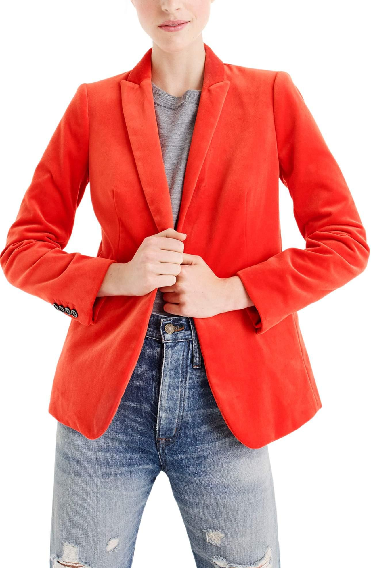 <p>J.Crew Parke Velvet Blazer - $168. OMG, YES! I'm obsessed with this.{&amp;nbsp;}{&amp;nbsp;}J.Crew's Parke blazer, available in four shades of luxurious velvet, is the perfect layering piece for everything - work or play. (Image: Nordstrom){&amp;nbsp;}</p><p></p>