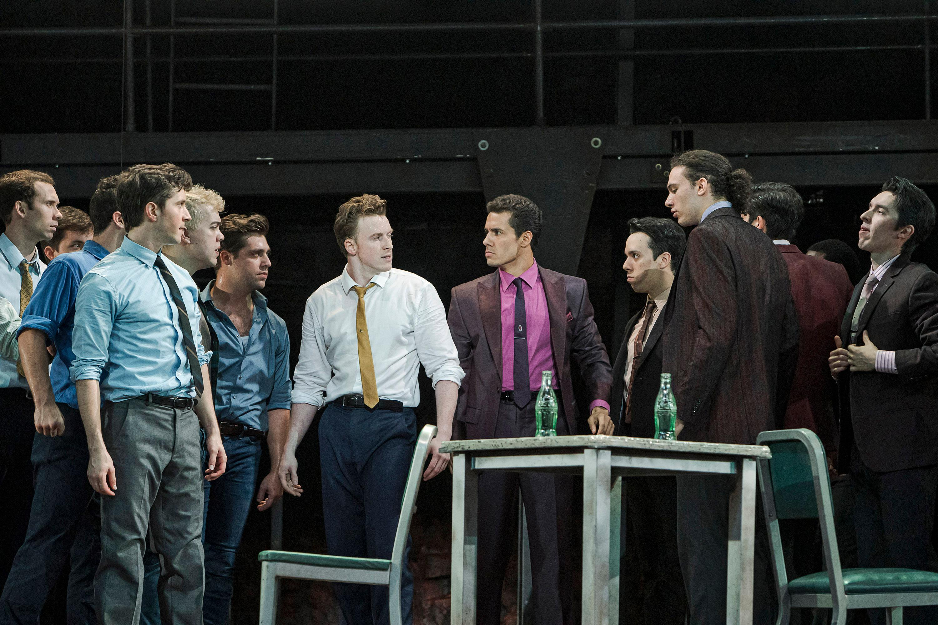 Dan Lusardi (left center) as Riff Alexander Gil Cruz (right center) as Bernardo and the cast of West Side Story (Photo Credit Tracy Martin)