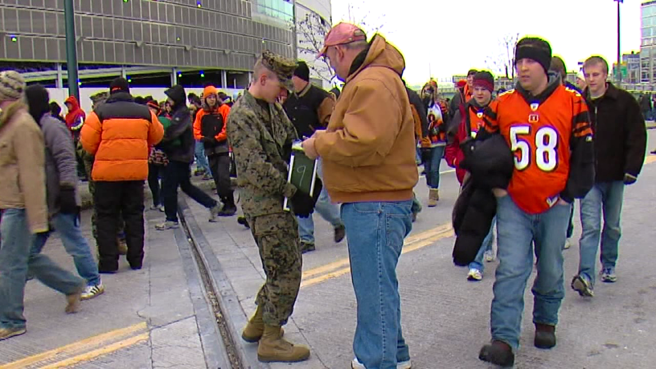 Marines will collect toys and cash donations at the Bengals game on December 10 (WKRC file)