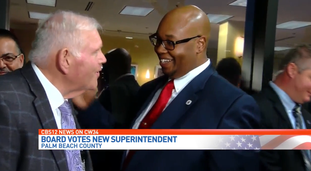 School Board selects district's first African-American superintendent. (WPEC){ }