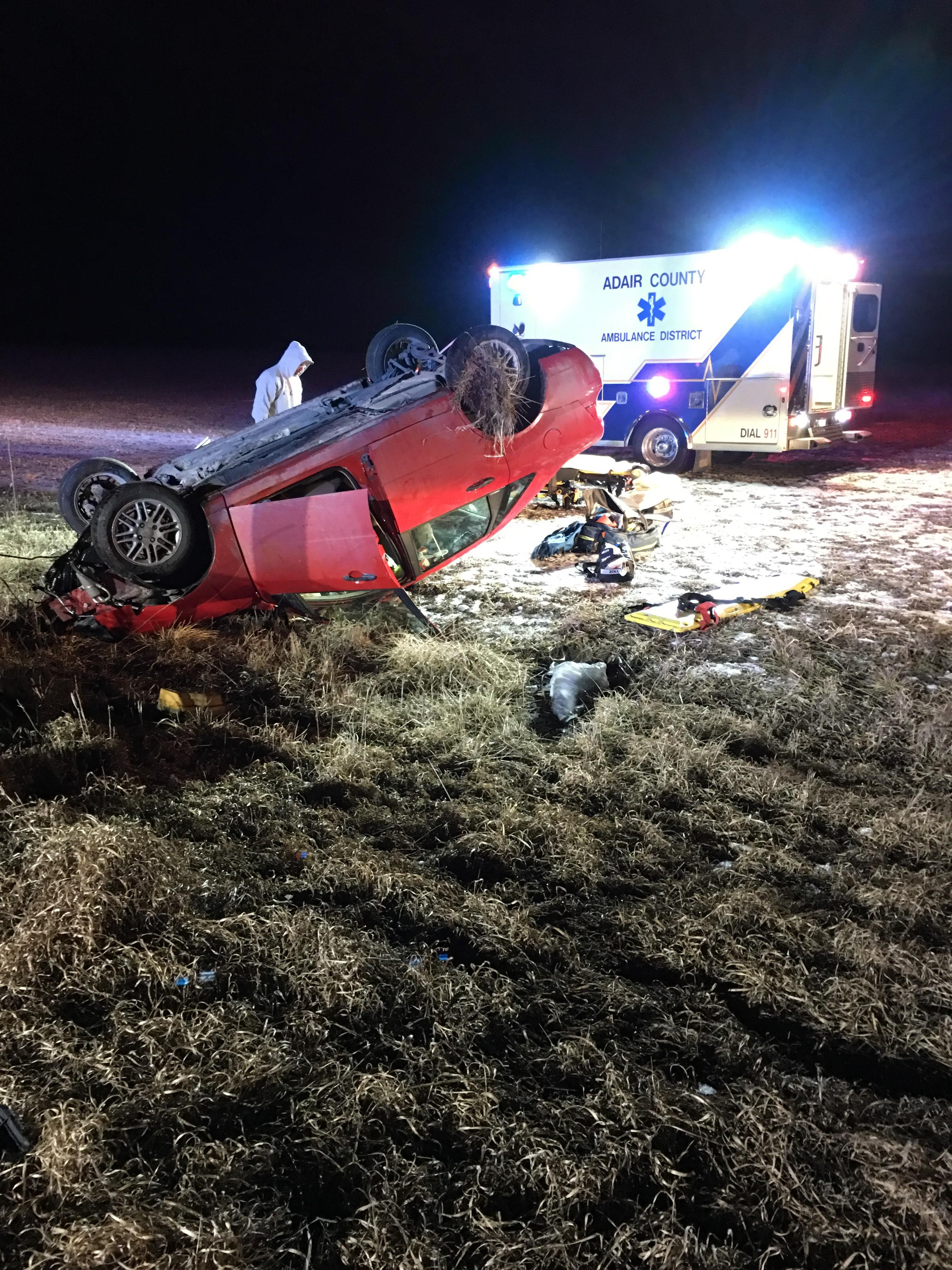 The one-car wreck happened around 6:30 p.m. Thursday on Highway 63 just north of Sublette. (John Garlock/KTVO)<p></p>