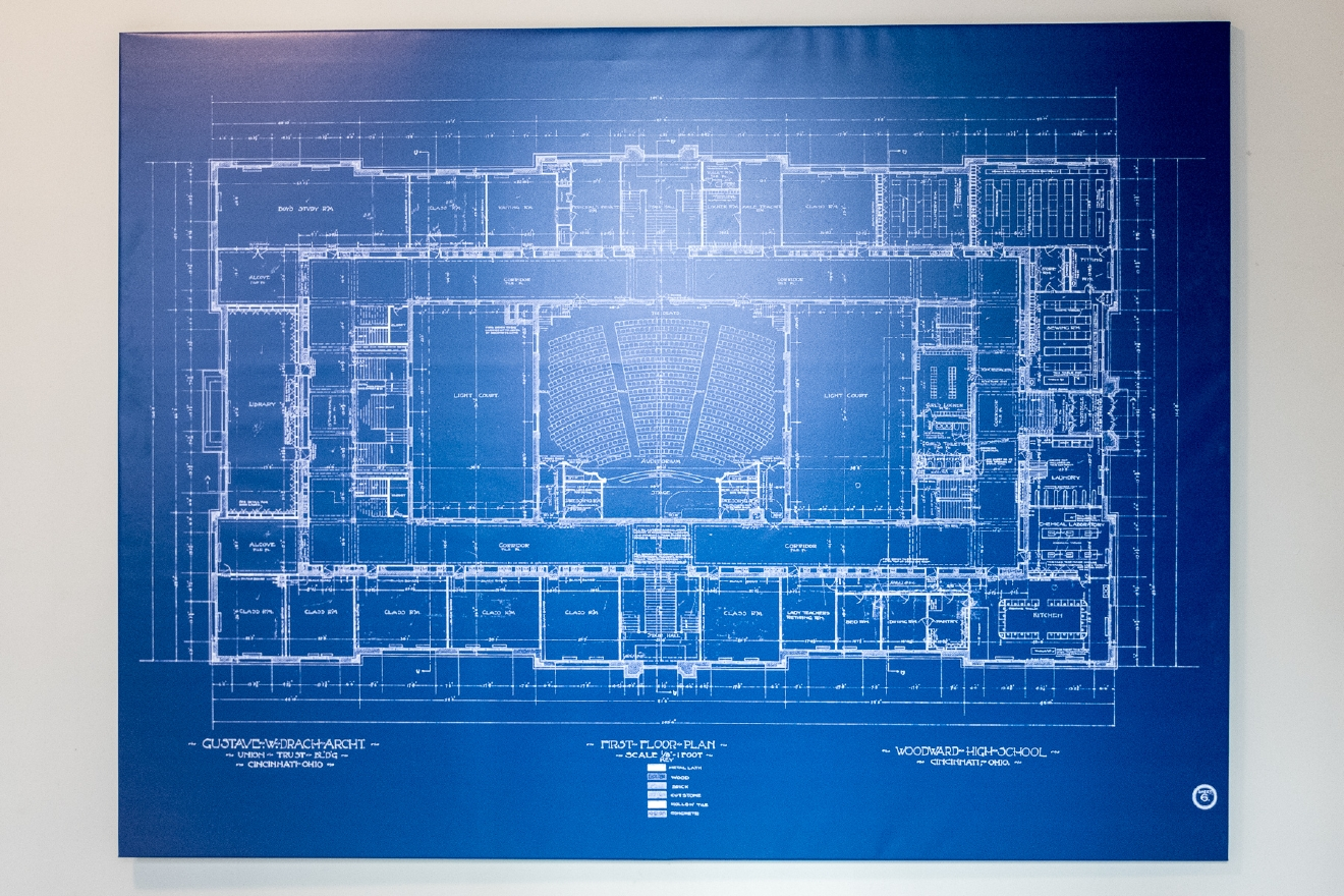Many of the school's original blueprints from the early 1900's are mounted around the building. / Image: Daniel Smyth