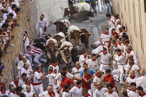 Participants run on Santo Domingo in front ''Jandilla'' fighting bulls during the running of the bulls at the San Fermin Festival in Pamplona, Spain, Tuesday.