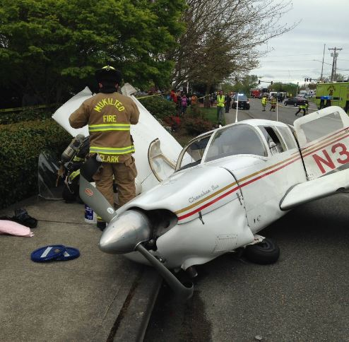 A small plane crash near Paine Field on Tuesday afternoon. (Photo: Mukilteo Police Department)