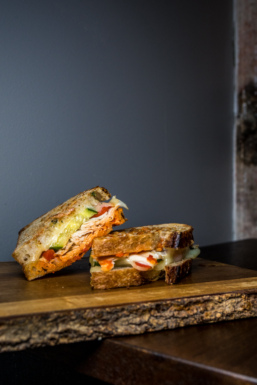 Turkey & Swiss: sourdough, roasted turkey, swiss, veggie spread, cucumber, and roasted red pepper / Image: Catherine Viox{ }// Published: 7.18.20