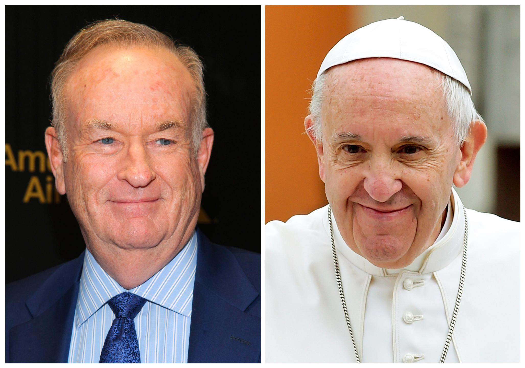 "FILE - In this combination photo, Fox News Channel personality Bill O'Reilly appears at The Hollywood Reporter's ""35 Most Powerful People in Media"" celebration on April 6, 2016, in New York, left, and Pope Francis leaves after celebrating Mass in Piazza Martiri Square, in Carpi, northern Italy, on April 2, 2017.   O'Reilly has had a brief handshake with Pope Francis as sexual harassment allegations dog him at home in the U.S. He is on a two-week vacation that on Wednesday took him to Francis' general audience in St. Peter's Square. His trip came as Fox News Channel's parent company weighs accusations that a woman's career was slowed when she spurned O'Reilly's advances. Dozens of his show's advertisers have fled following reports of harassment settlements paid to other women. O'Reilly has denied wrongdoing. (AP Photo/Andy Kropa, left, Marco Vasini, Files)"