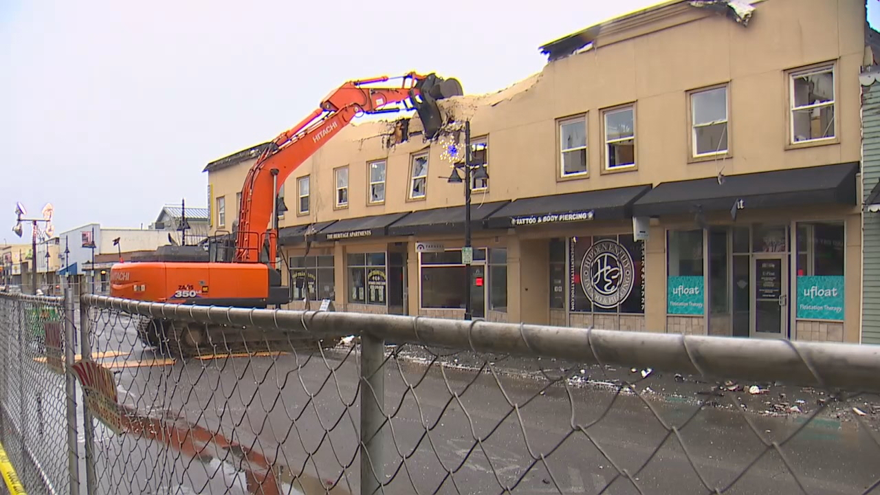 Demolition has begun on the Heritage Building, where there was a devastating fire earlier this week. (Photo: KOMO News)<p></p>