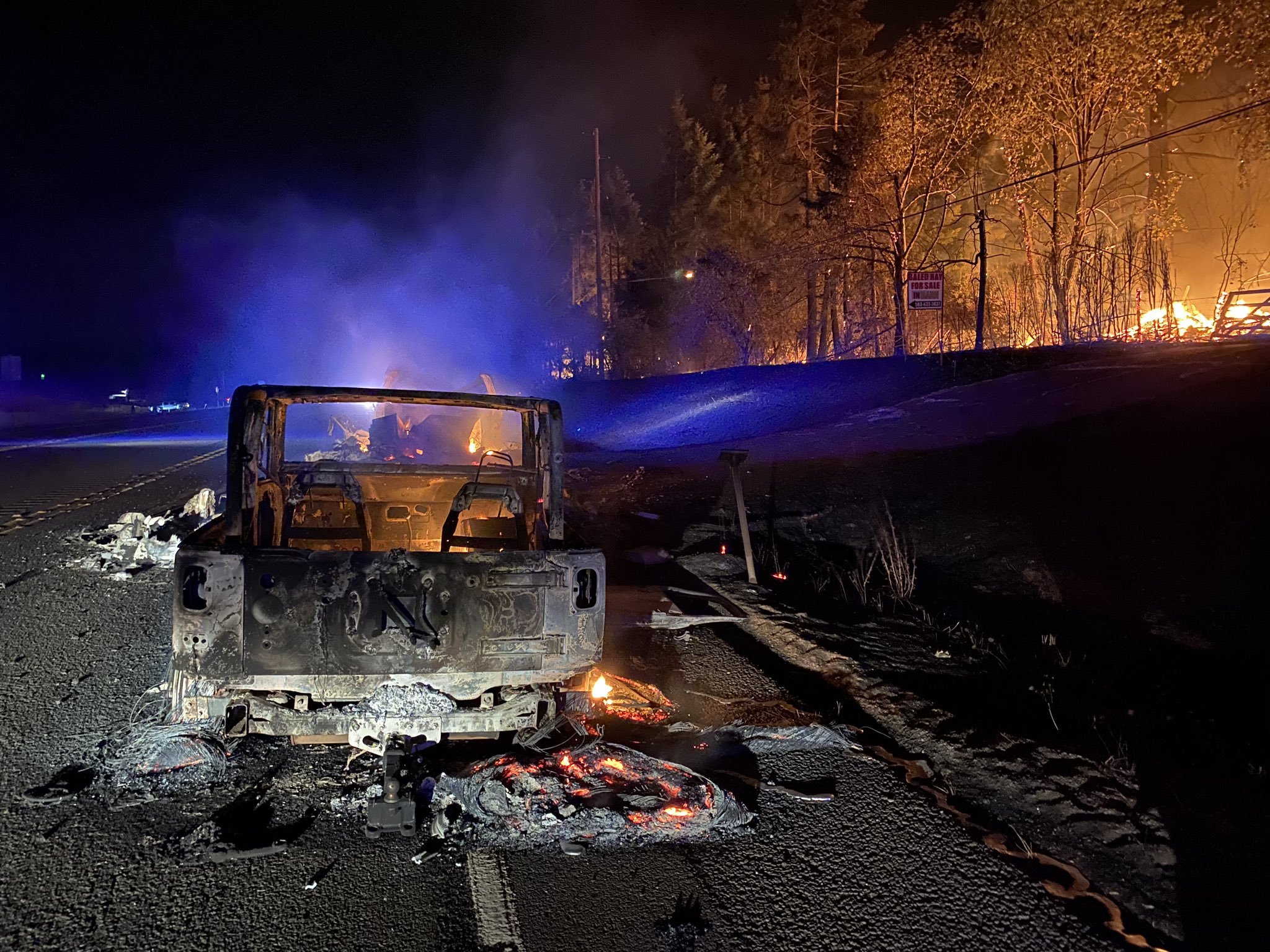 The Clackamas County Sheriff's Office tweeted this photo of a burned out vehicle burned near Carus and Union Hall Road on Tuesday, Sept. 8, 2020. (Clackamas County Sheriff's Office)