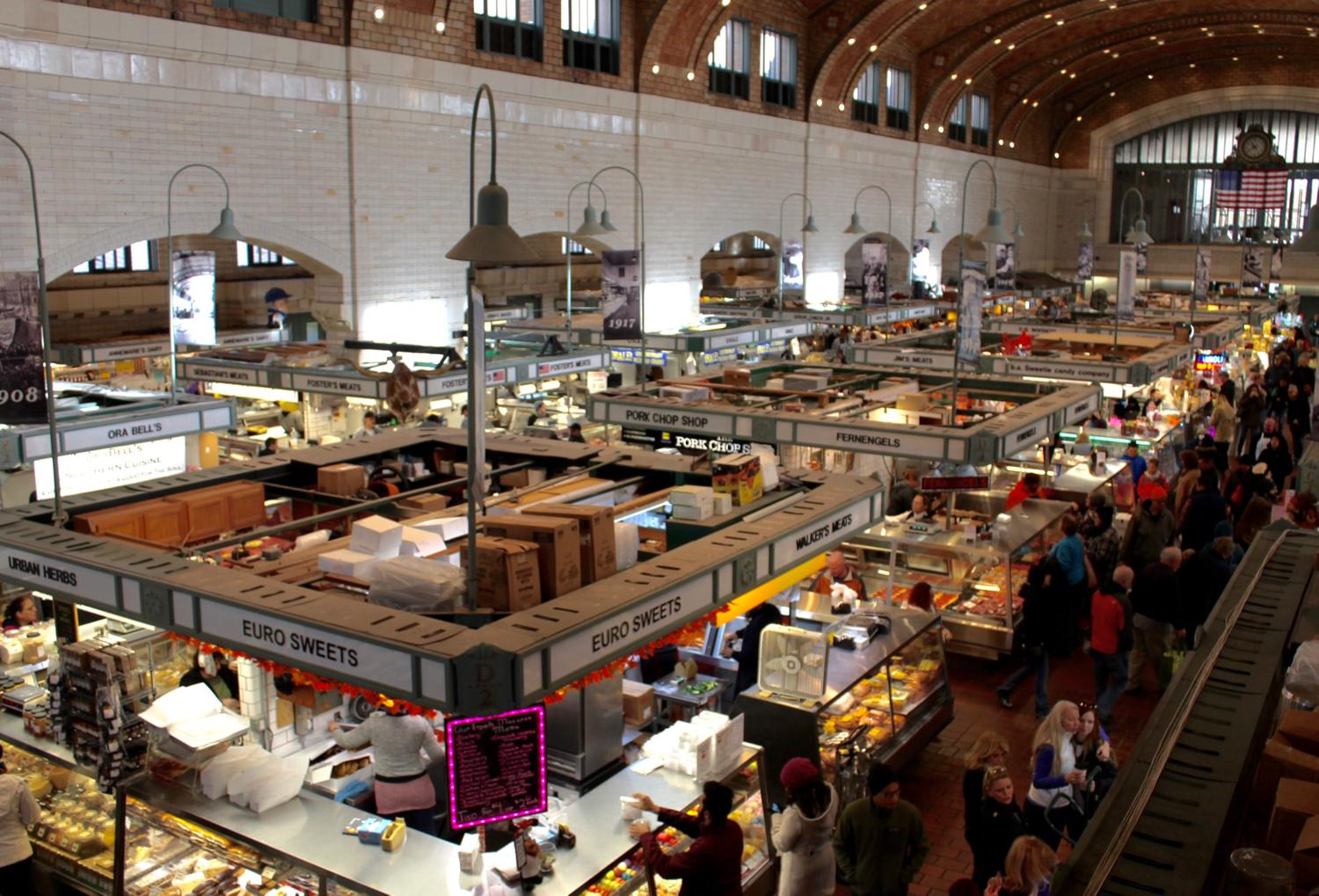"Cleveland's West Side Market is the city's oldest publicly-owned market. Its origins date back to 1840 when the market began as an ""open-air marketplace"" on land donated by two Ohio City landowners, Josiah Barber and Richard Lord. The market opened to the public in 1912 and is now home to over 100 different vendors selling a diverse selection of cuisine, including fresh meat, seafood, vegetables, cheese and ready-to-eat foods. ADDRESS: 1979 West 25th Street, Cleveland, OH 44113 / Image: Rose Brewington // Published: 11.22.17<p></p>"