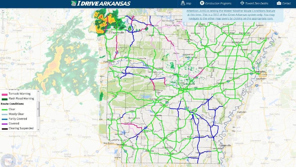 Arkansas highway officials plan test for winter weather map   KATV