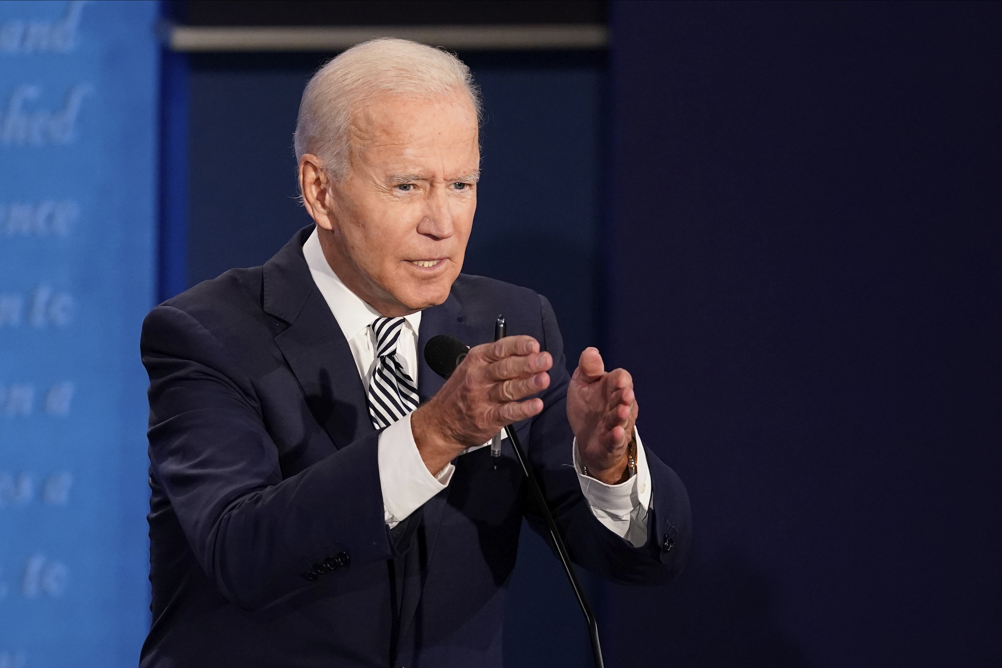 Democratic presidential candidate former Vice President Joe Biden speaks during the first presidential debate against President Donald Trump, Tuesday, Sept. 29, 2020, at Case Western University and Cleveland Clinic, in Cleveland, Ohio. (AP Photo/Morry Gash, Pool)