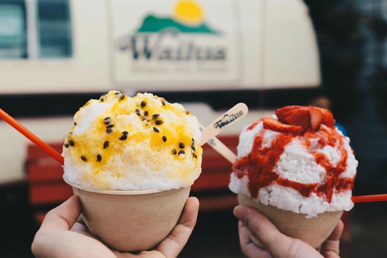 It's hard to describe exactly what makes shave ice so wonderful. It's nothing like a sno-cone, which is what I was expecting. The tiny shaves of ice soak up whatever flavor you add like magic, making a creamy, refreshing, decadent dessert that even beats out ice cream. (Image Courtesy: Wailua Shave Ice Facebook Page)