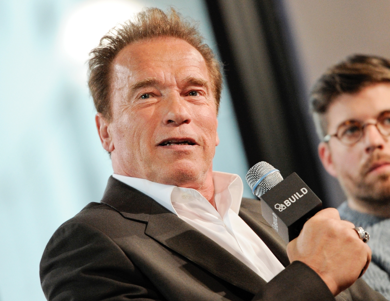 FILE - In this April 22, 2015, file photo, actor Arnold Schwarzenegger participates in AOL's BUILD Speaker Series in New York. Schwarzenegger?s affair with his longtime housekeeper became public after the former California governor and Maria Shriver announced their divorce. Mildred Baena spoke in 2011 about the affair, including disclosing that her son, Joseph Baena, is Schwarzenegger?s son. (Photo by Evan Agostini/Invision/AP, File)