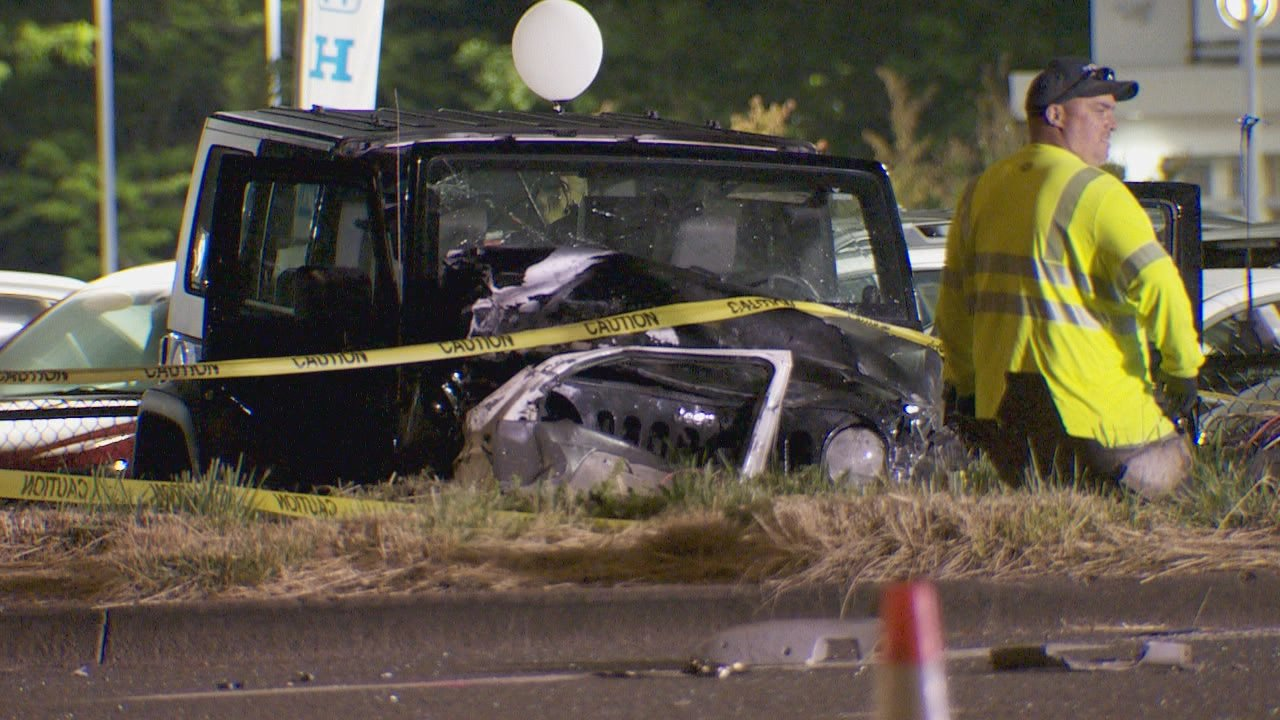 ODOT says at least one person was killed in a crash along Salem Parkway in Salem on June 2, 2019. KATU photo