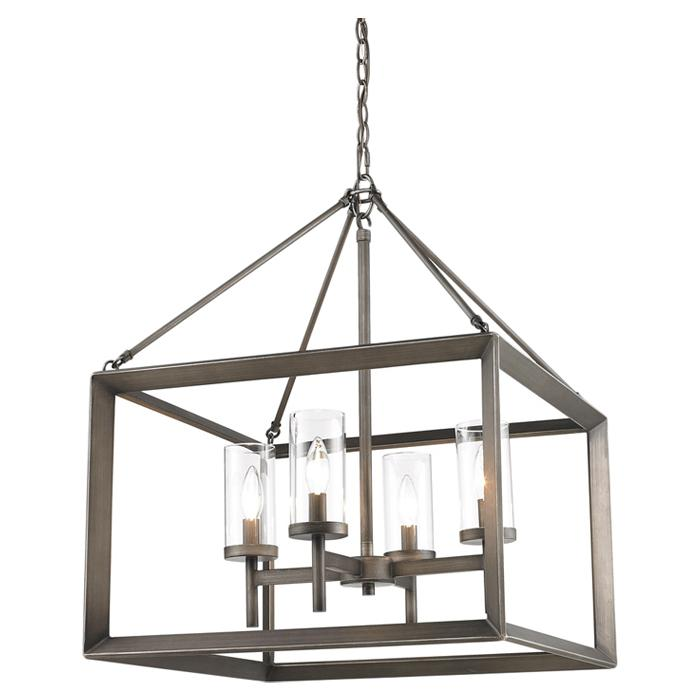 4 Light Candle Chandelier ($305.99)  These modern lanterns feature a handsome beveled cage design with clear glass cylinders that encase steel candles and candelabra bulbs. (Image: Wayfair)