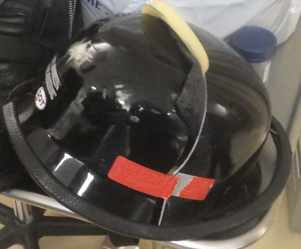 Novelty helmet worn by motorcycle crash victim (Grand Island Police)