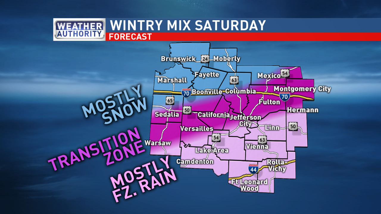 A wintry mix of precipitation types looks to set up across mid-Missouri throughout the day on Saturday and continue into the evening hours.{&amp;nbsp;}(KRCG 13 Weather Authority)<p></p>