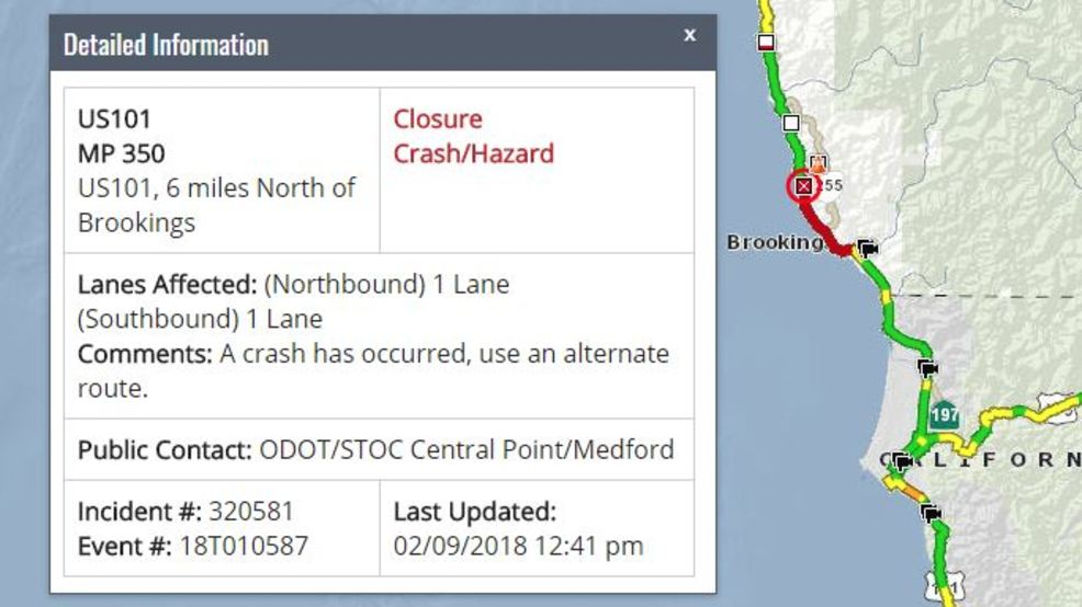 Crash closes Hwy 101 north of Brookings state police conducting