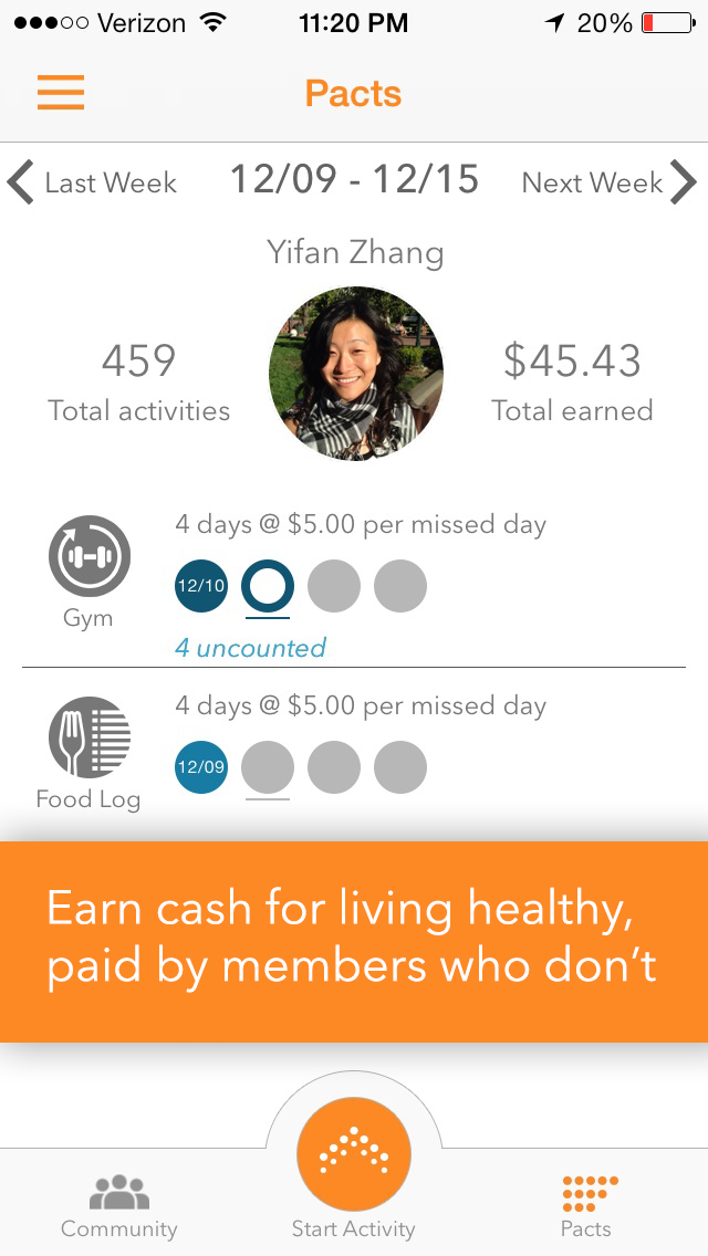 Pact uses cash stakes to help you achieve your health goals with three easy steps. (Pact)