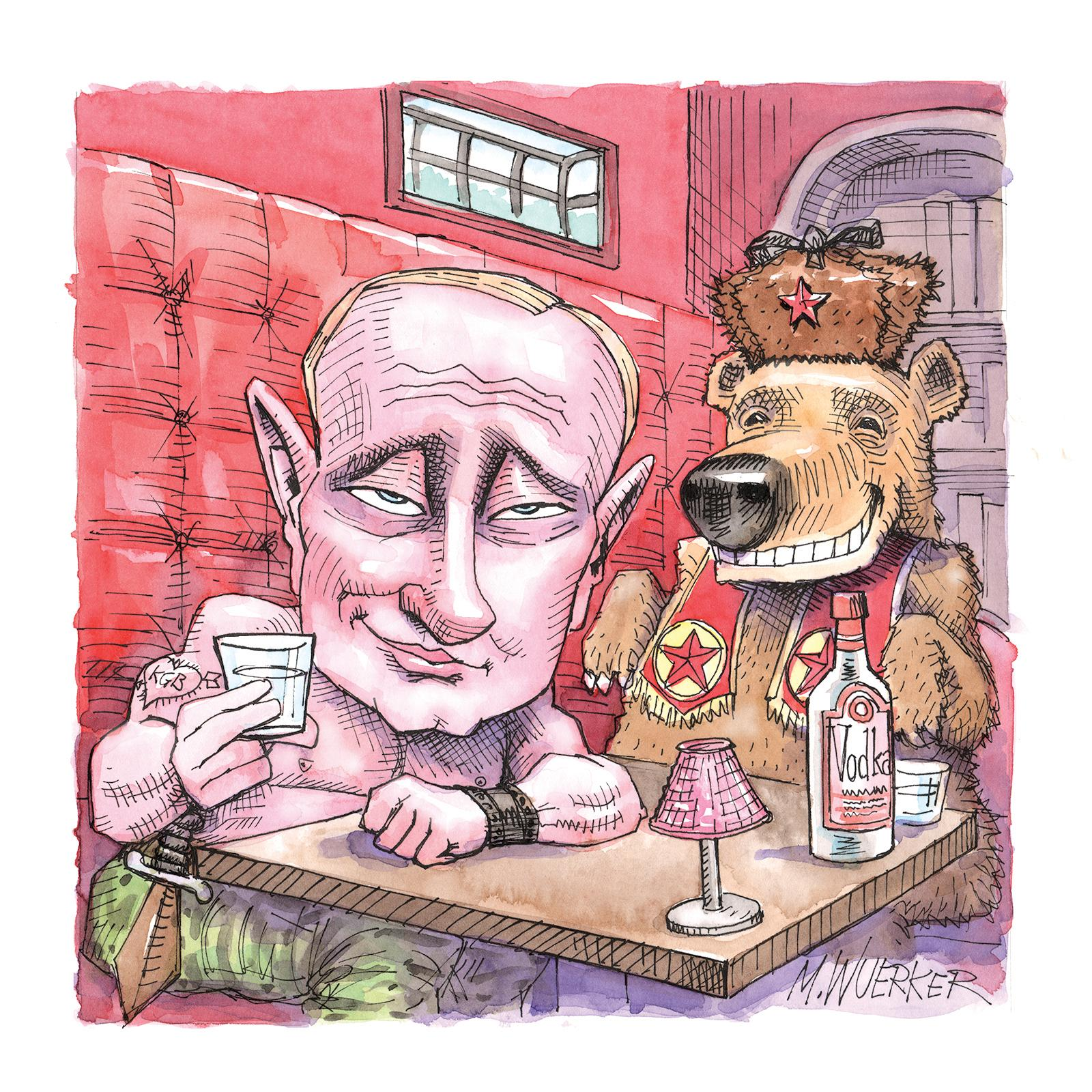 Vladimir Putin drawn by Matt Wuerker (Image: Courtesy The Hay-Adams)