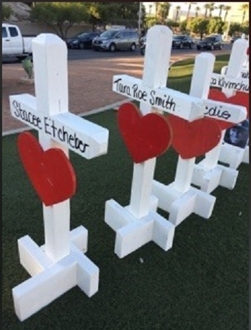 Greg Zanis from Illinois made and brought crosses for shooting victims. (Tami Harper Winn)