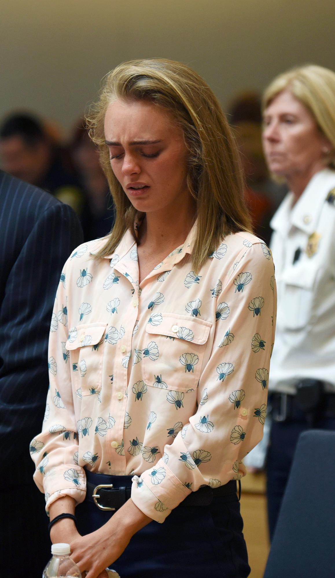 Michelle Carter cries after being found guilty of involuntary manslaughter in the suicide of Conrad Roy III, Friday, June 16, 2017, in Bristol Juvenile Court in Taunton, Mass. (Glenn C.Silva/Fairhaven Neighborhood News, Pool)