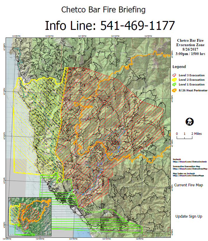 Chetco Bar Fire map
