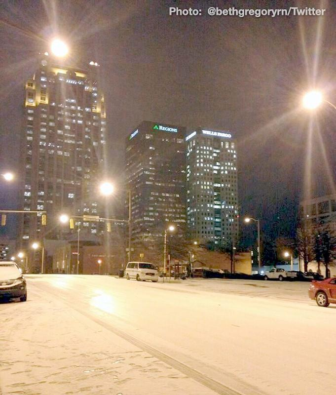 Downtown Birmingham following a winter storm Tuesday, January 28, 2014.