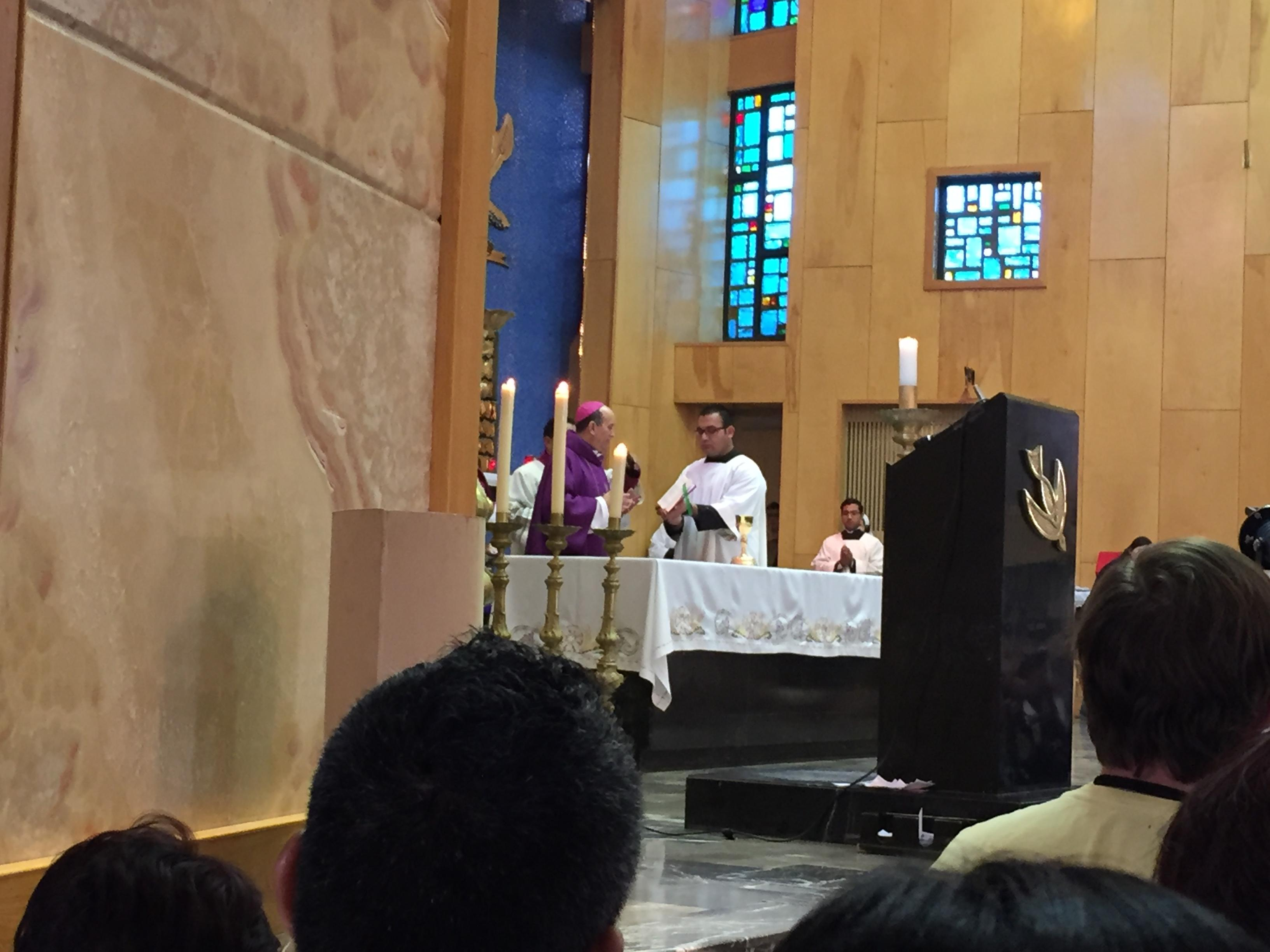 The Archbishop of Juarez blessed the chalice Pope Francis will use during mass on Wednesday.