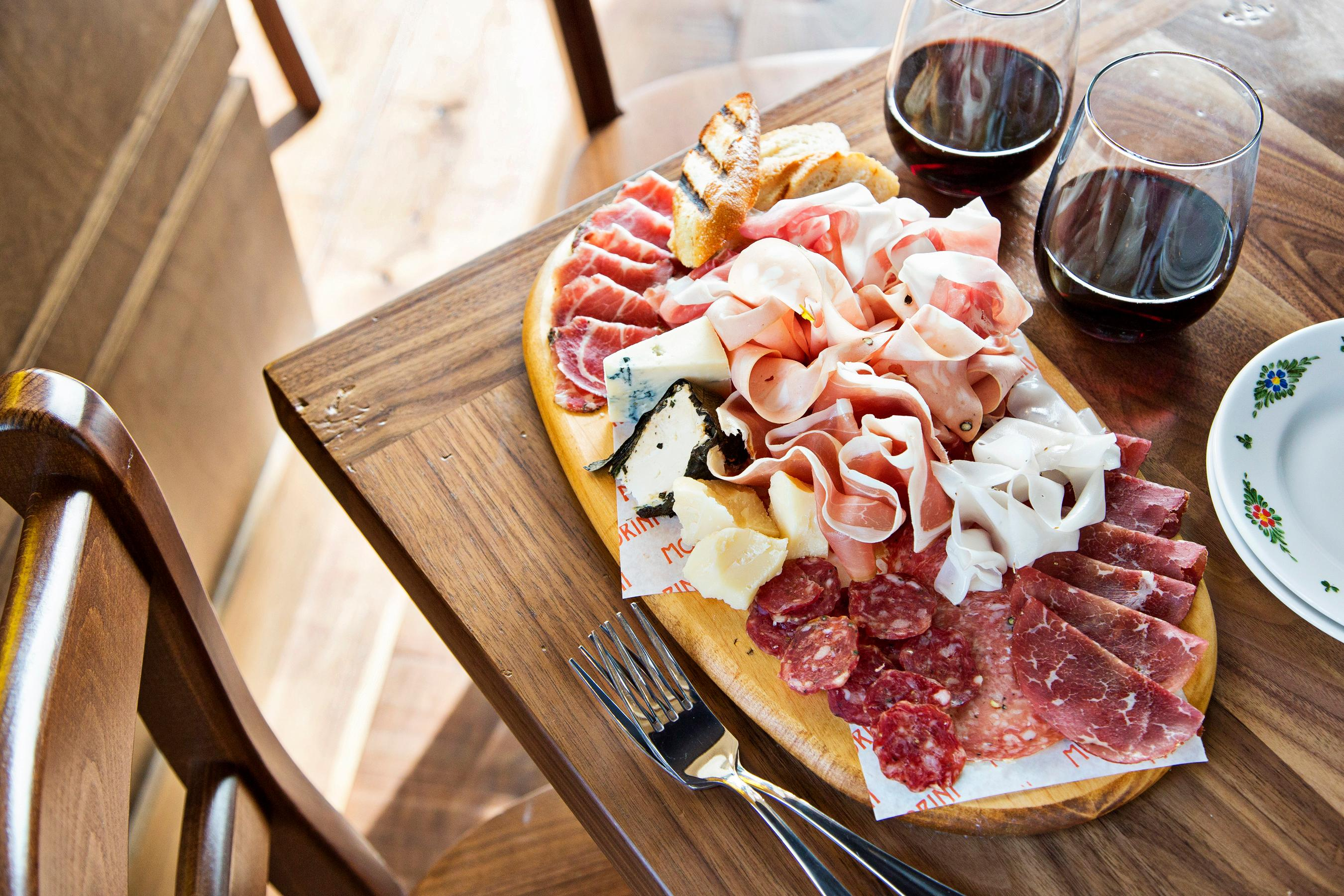 Cheese and charcuterie board at Osteria Morini (Scott Suchman)