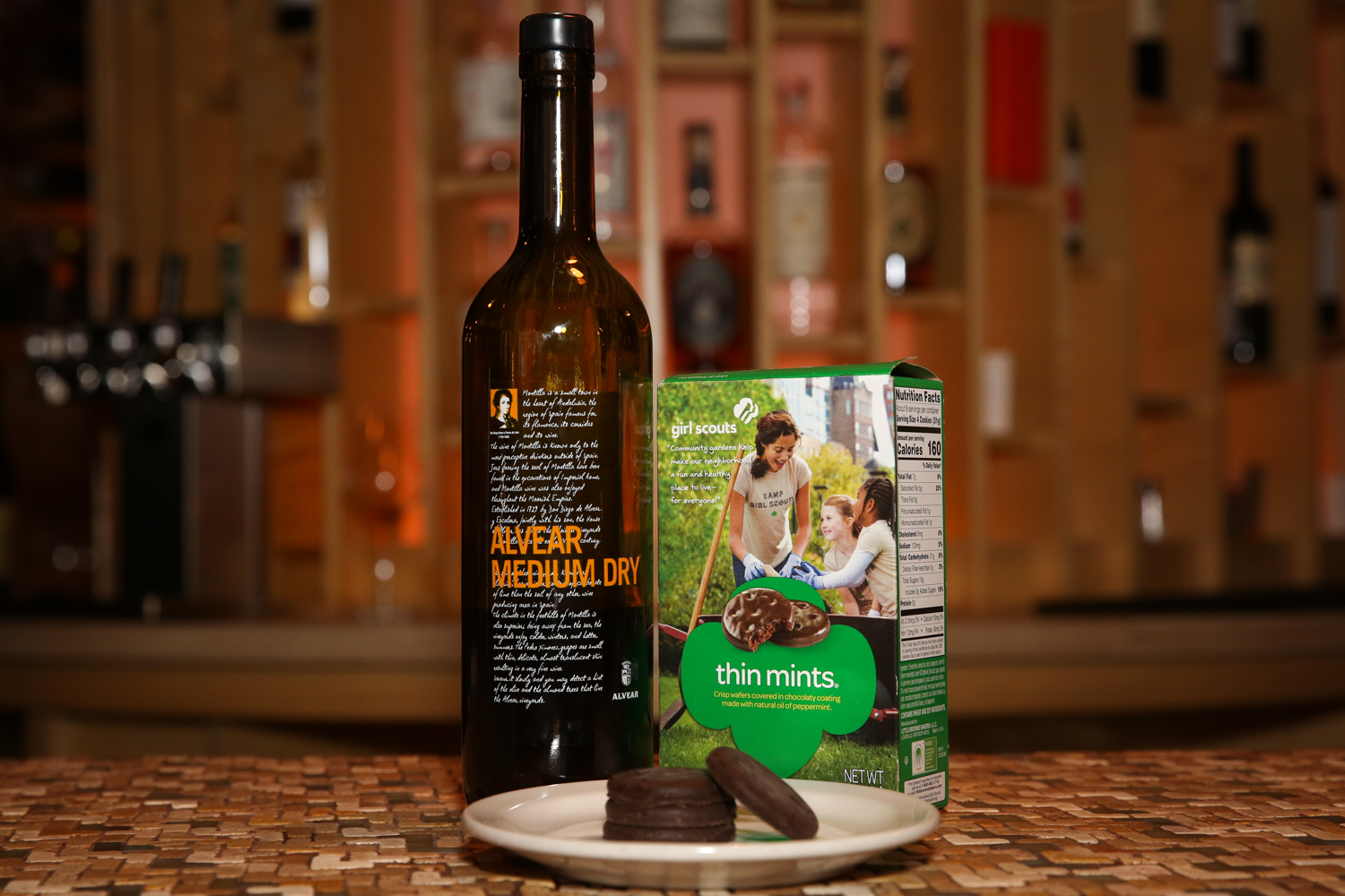 <p>Bose and Amir admitted the mint component made this cookie (the Girl Scouts' most popular, year after year) the most difficult for which to find a liquid mate. After uncorking a bunch of bottles to no avail, they went with a medium-dry style of sherry made from pedro ximenez grapes. Its dried fruit notes, salinity and low to medium acidity were eye-opening in the synergy with the cookie. Verdict: This was the most surprising match-up of the bunch. But if you are looking for a spirit alternative, Bose suggests Bourbon. What is a mint julep after all except Bourbon, sugar and mint?{&nbsp;} (Image: Amanda Andrade-Rhoades/ DC Refined)</p>