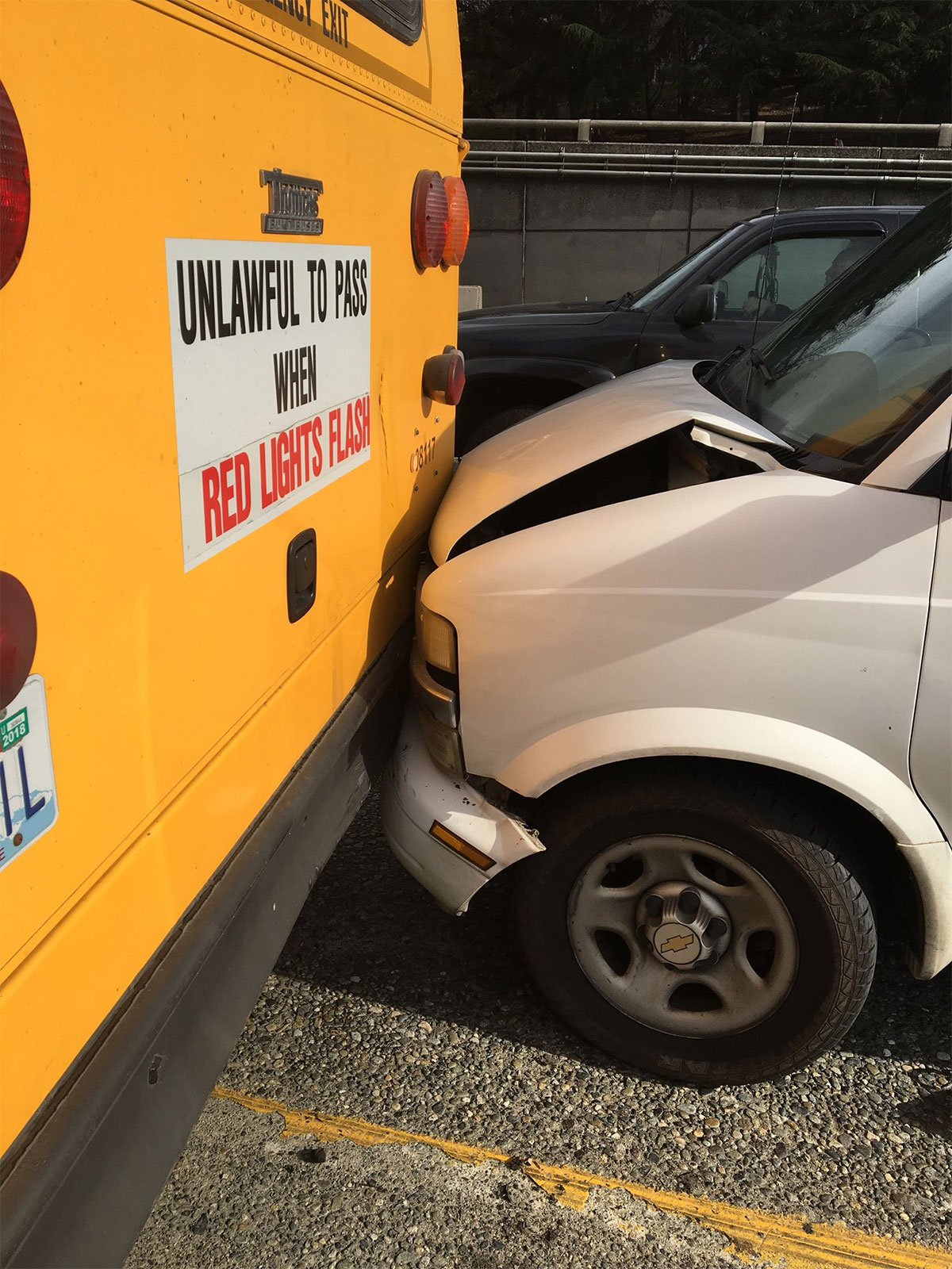 A school bus was rammed on Interstate 5 in Seattle. No children were hurt. Two people were arrested. (Photo: Wash. State Patrol)
