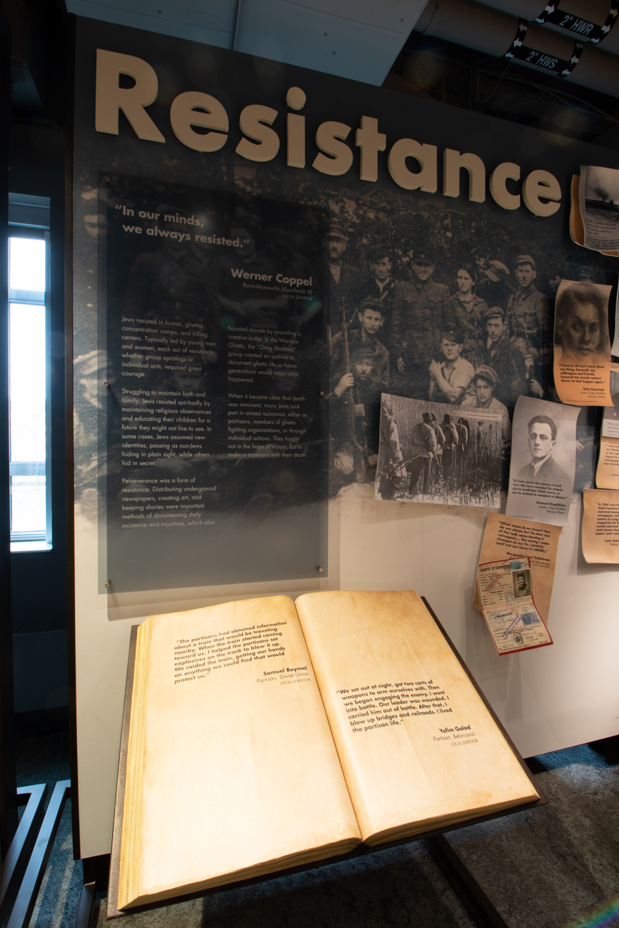 An exhibit space highlighting resistance to Nazi rule.{ }/ Image: Ronny Salerno // Published: 1.14.19
