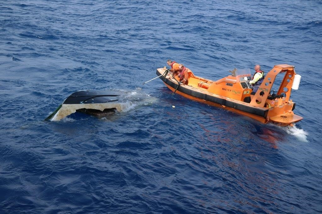 Boat belonging to Austin and Perry recovered near Bermuda. Image Courtesy: Edda Accommodations Ltd.
