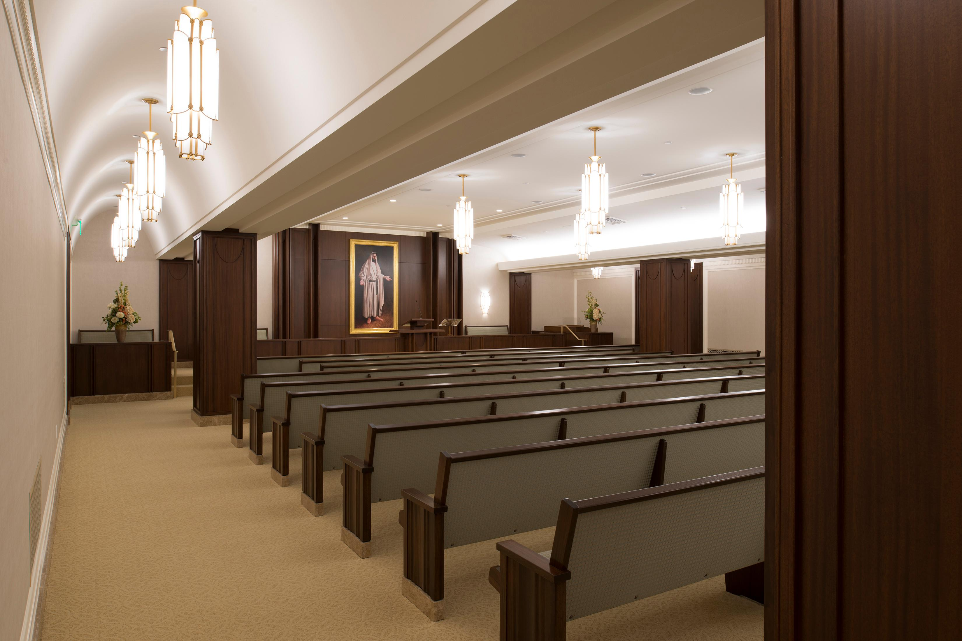 Patrons to the Jordan River Utah Temple meet in this chapel in preparation for further instructions. ©2018 BY INTELLECTUAL RESERVE, INC. ALL RIGHTS RESERVED.