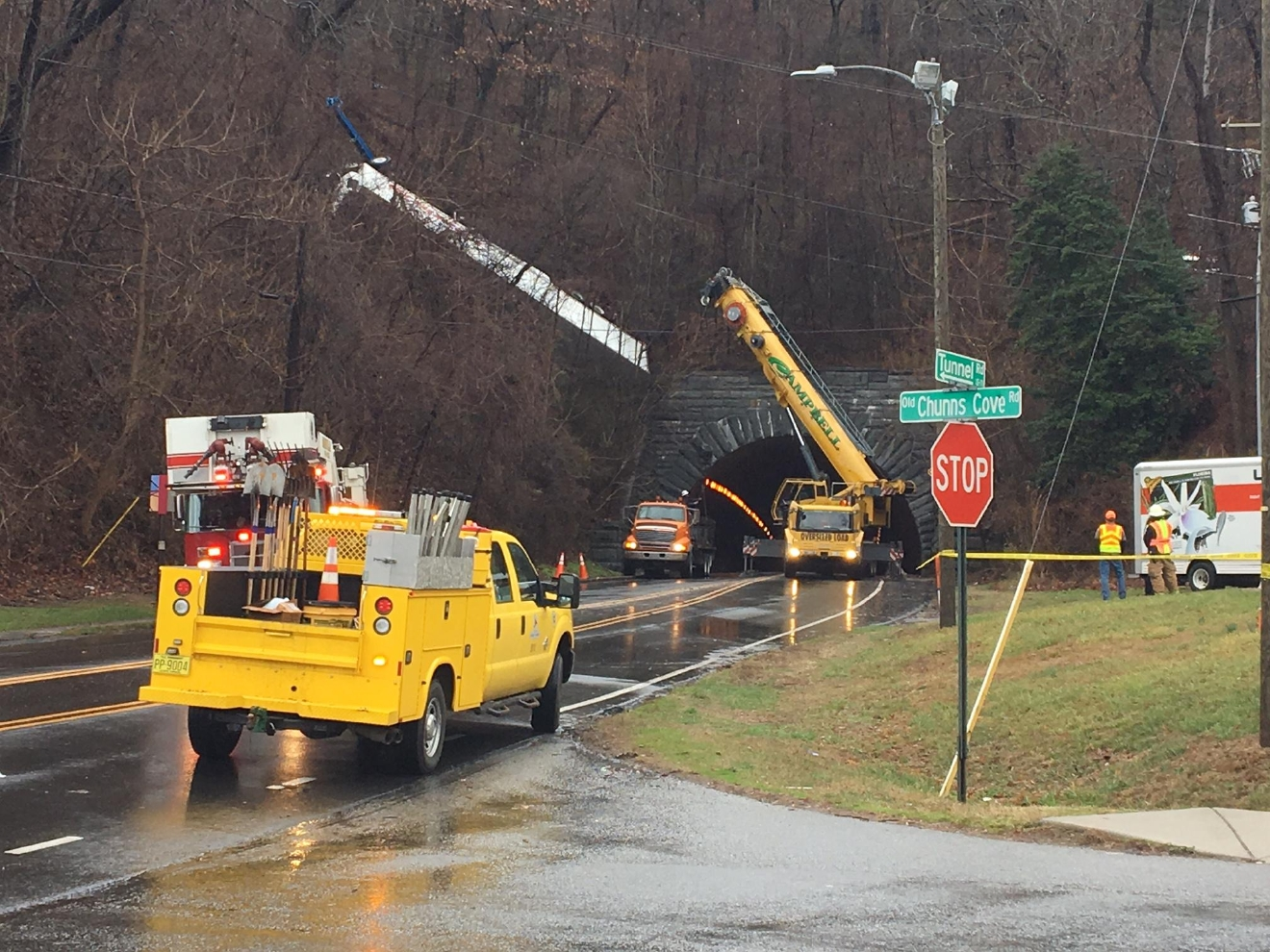 A crane at the scene.  (Photo credit: WLOS staff)
