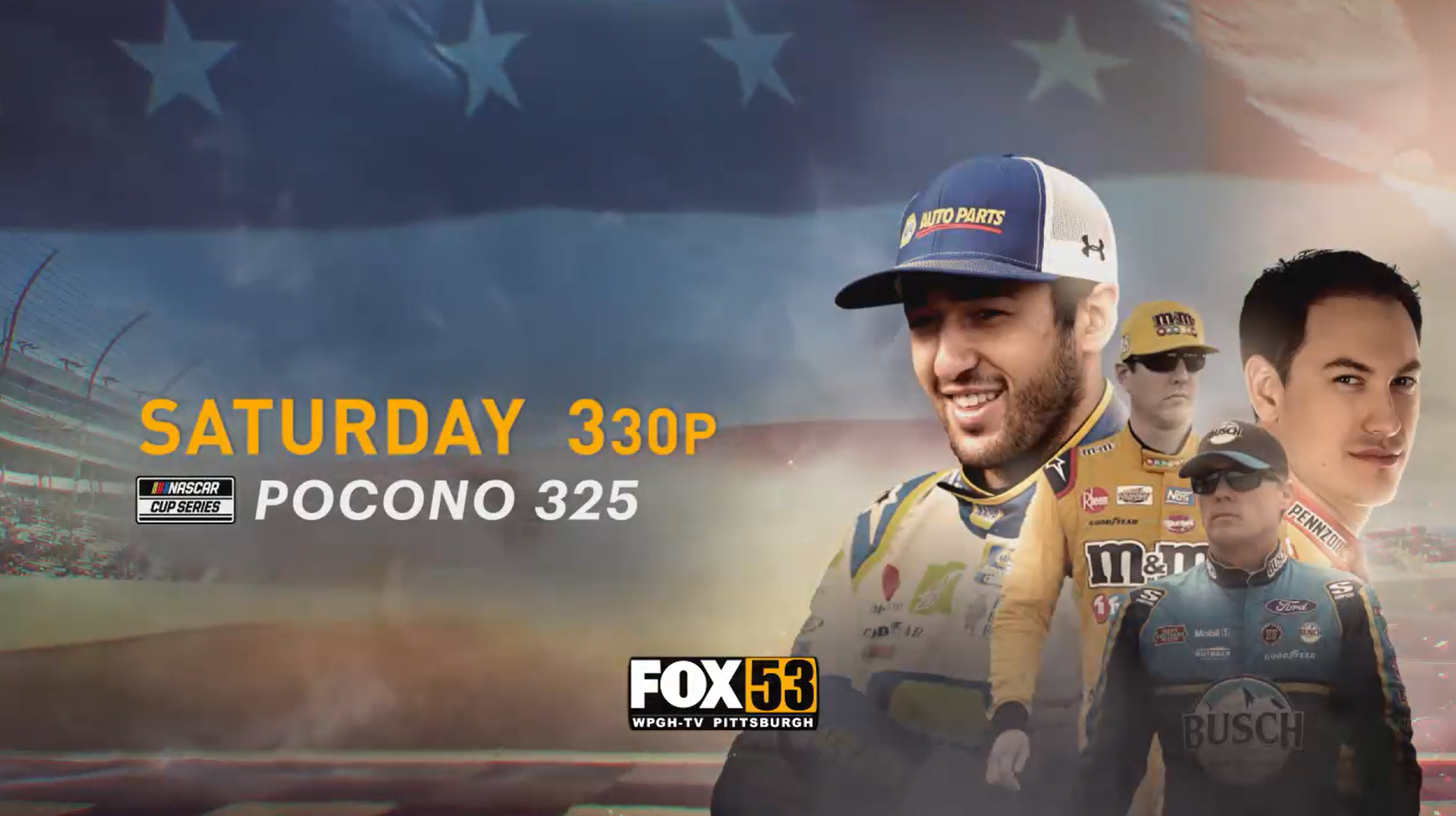 "Watch ""NASCAR Cup Series Racing (Pocono)"" Saturday, June 27 at 3:30 p.m. on Pittsburgh's FOX 53.<p></p>"
