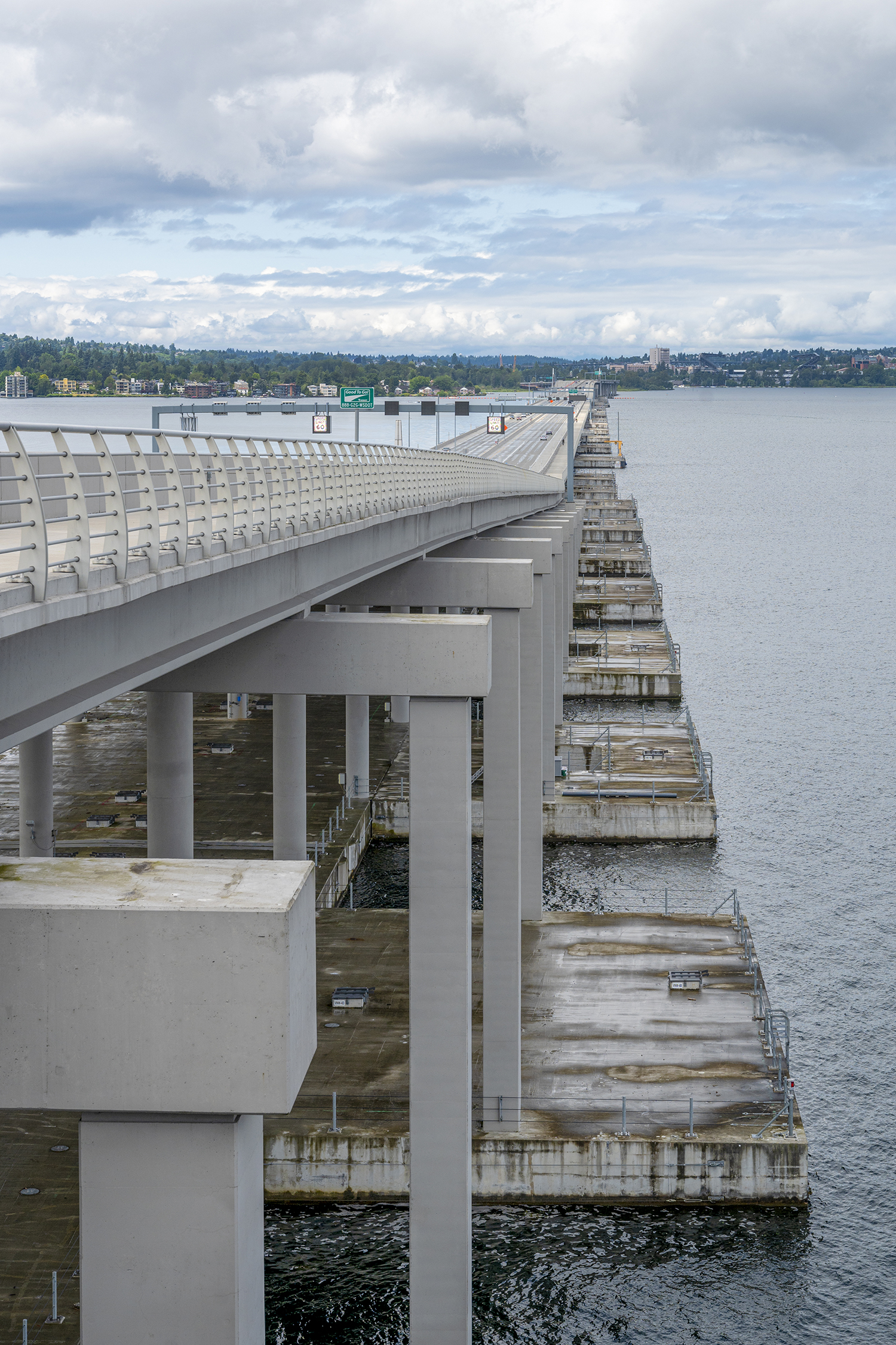 The 520 Bridge. The new six-lane bridge, completed in 2016, replaces the one built in 1962 and allows drivers, cyclists and pedestrians to cross the span of Lake Washington from Seattle to Bellevue. Plus, the new floating bridge was designed to accommodate light rail transit in the future. (Image: Rachael Jones / Seattle Refined)