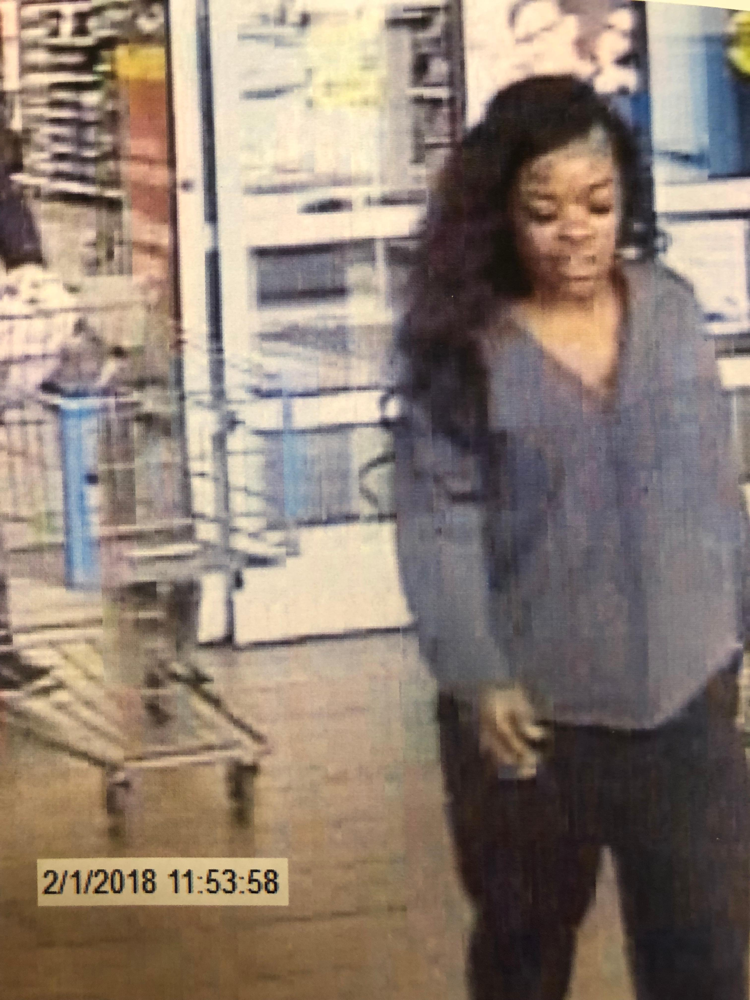 <p>Police said the woman entered the Walmart around 12 p.m. on Thursday, February 1 and selected three Walmart gift cards, got the cashier to load $1,500 on them, and then left without paying (LPD)</p>