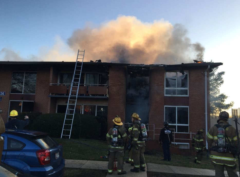 The scene of a major apartment fire in Prince George's County. (Prince George's County Fire Department)