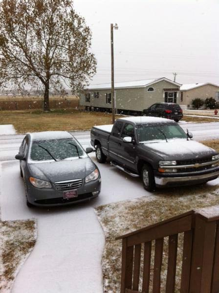 Snow near Lake Overholser.