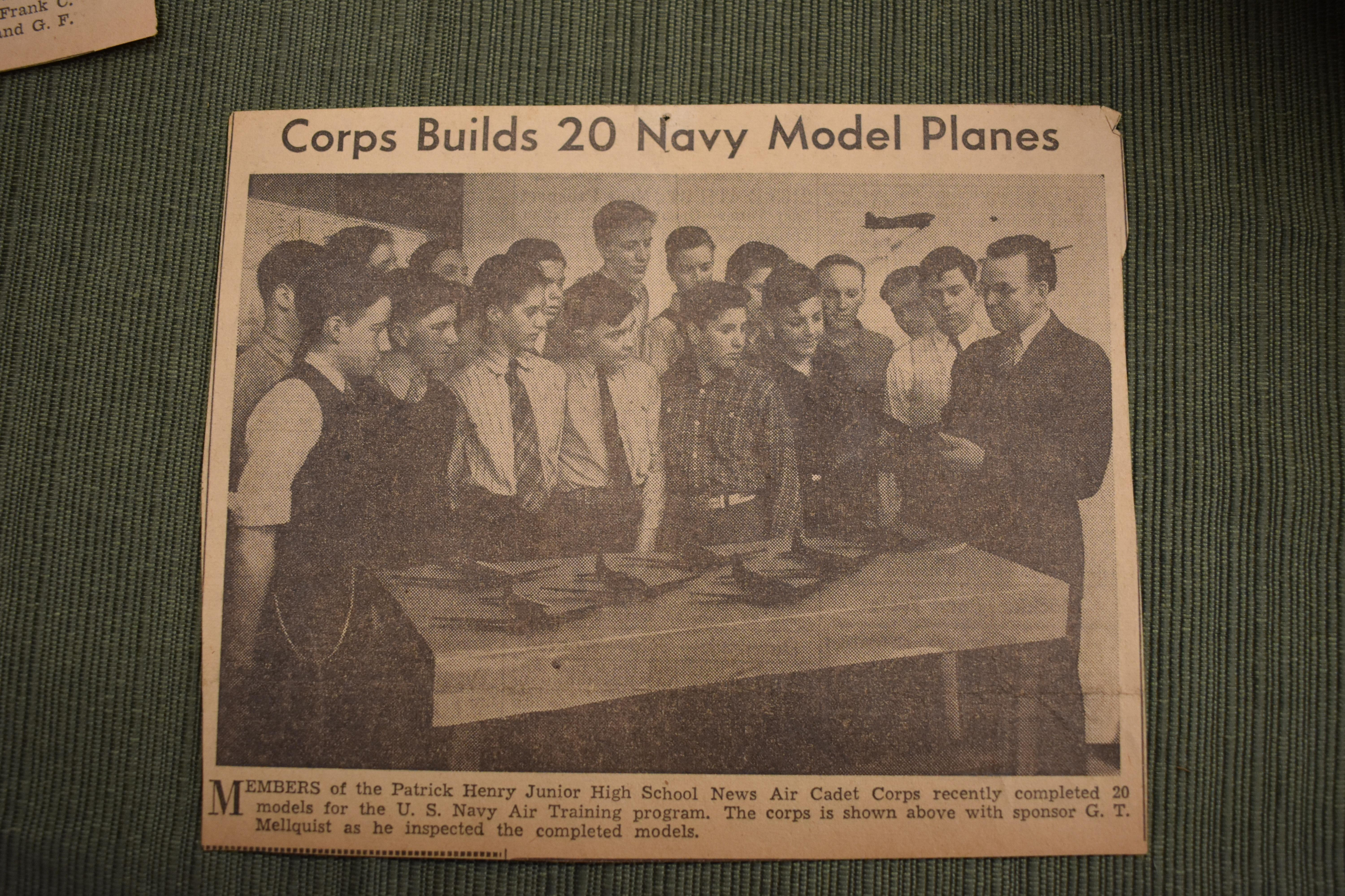 Cleveland, Ohio newspaper showing scale model airplanes constructed by Gustav Mellquist's Air Cadet Corps students. These were used by the military to train pilots to identify Allied, Axis and enemy aircraft. Photo by Maureen Flanagan Battistella