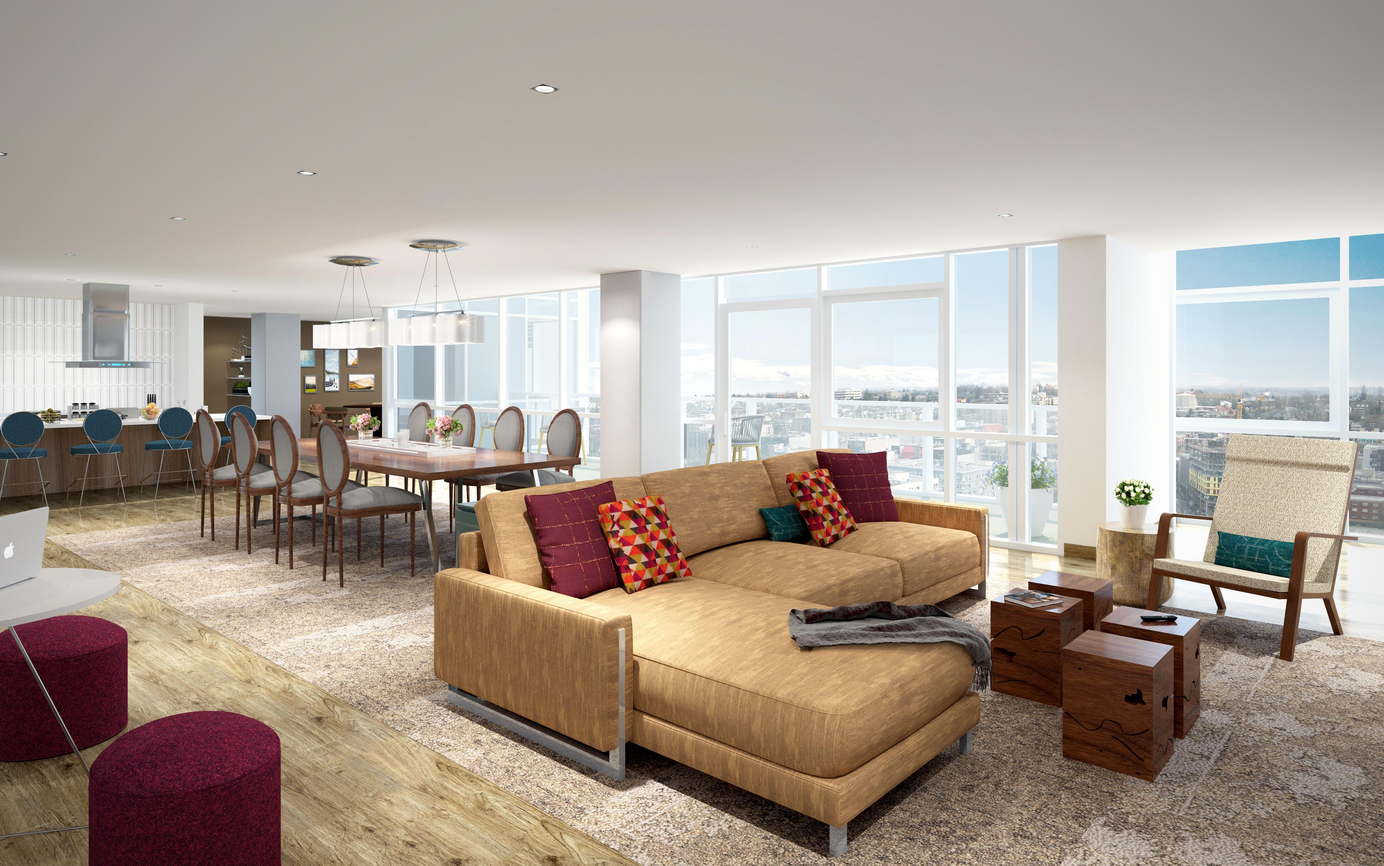 The Viewpoint on Level 16 at The Danforth features dining and lounge seating for entertaing with a view.