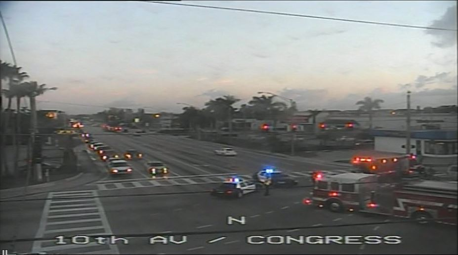 Crash on 10th Ave. slows traffic in Palm Springs. (FDOT)