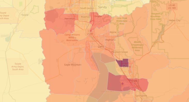 Small area case rates show the crude case rate per 100,000 people per Utah area. Cases may be higher or lower depending on several factors including testing in the area. (Image: UDOH)