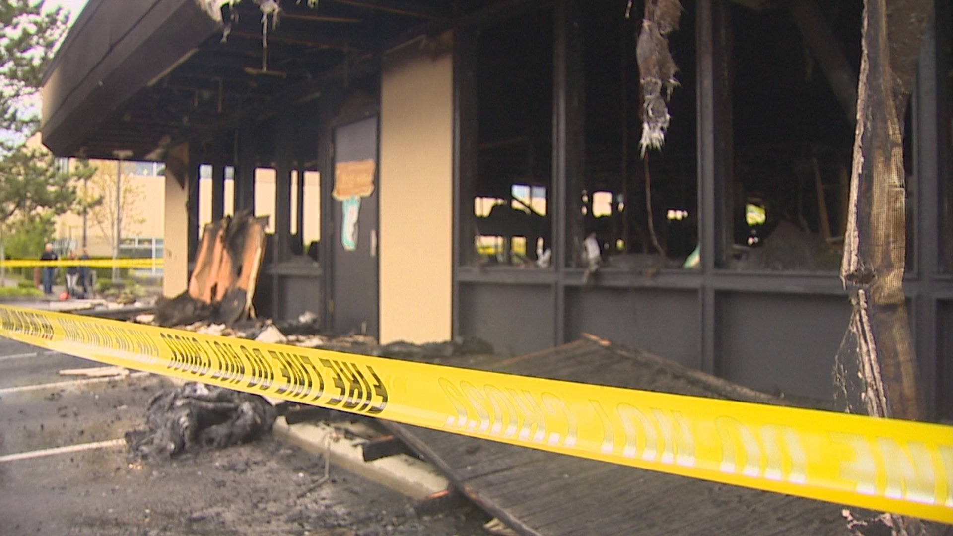 Bellevue Firefighters battle at three-alarm fire that broke out Monday night in a business park in the 13400 block of NE 20th St. (Photo: KOMO News)