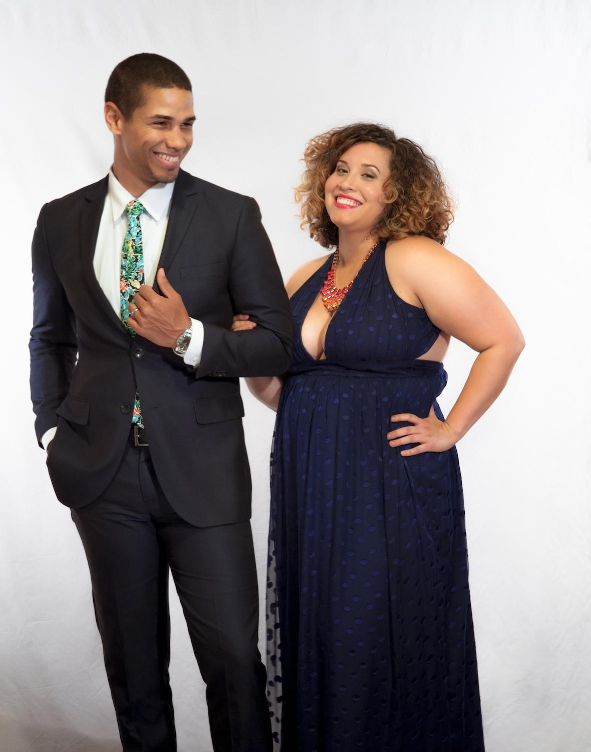 PARTY STYLE: Black Tie Optional / Navy suit: model's own / Tropical tie: (The Hillside) Article / Dress: (Privacy Please) Finery Dress Boutique / Image: Tifani Ahren Davis // Published: 5.17.17