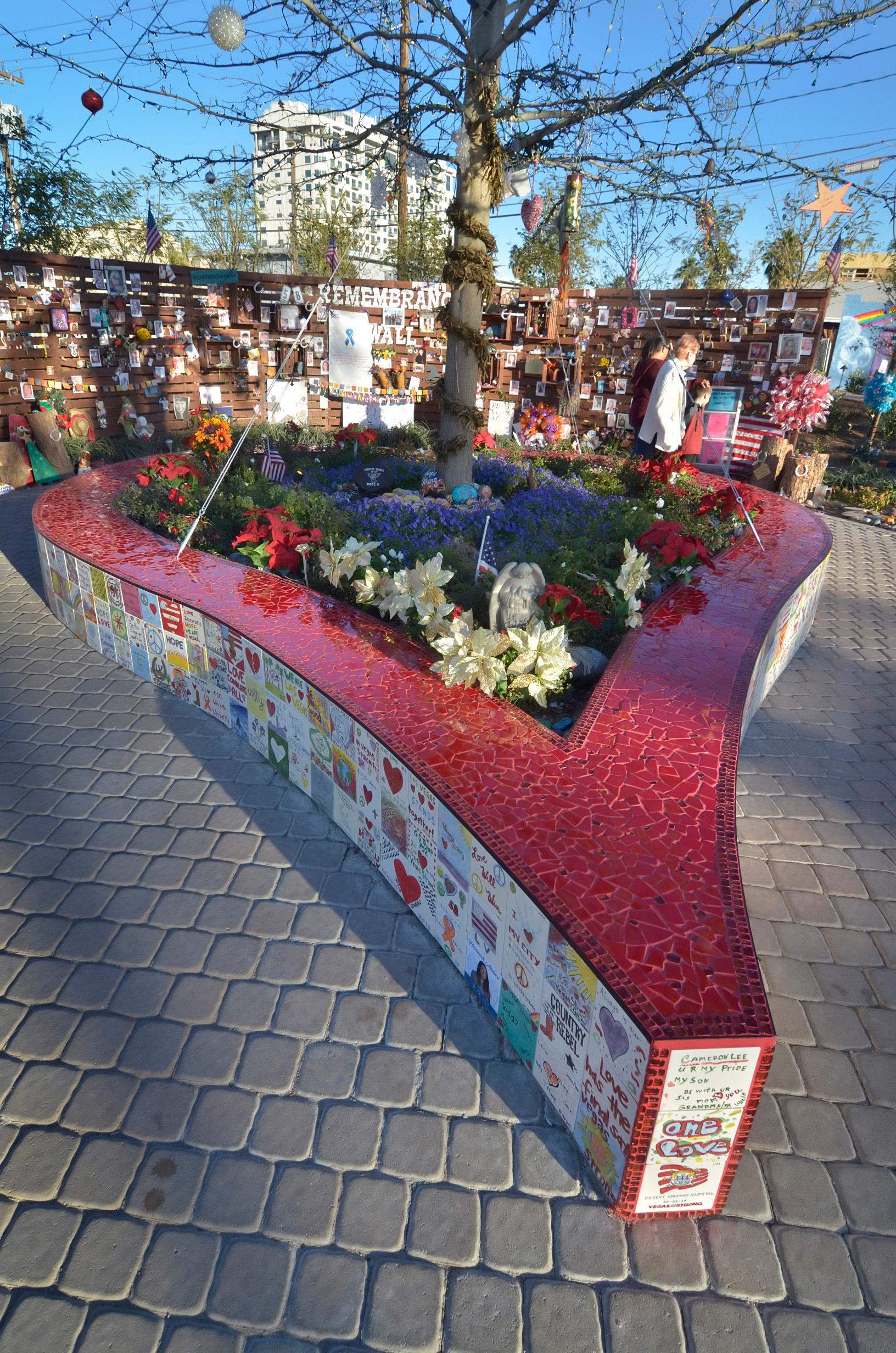 Christmas decorations are shown at the Remembrance Wall in the Community Healing Garden at 1015 S. Casino Center Blvd. in Las Vegas on Tuesday, Dec. 12, 2017. CREDIT: Bill Hughes/Las Vegas News Bureau