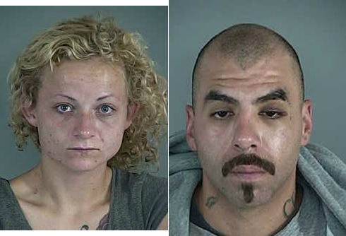 ARRESTED: Jessica Dawn Blanton and Roberto Martinez of Eugene, Nov. 27, 2017. (Lane County Sheriff's Office photo via Springfield Police Department)